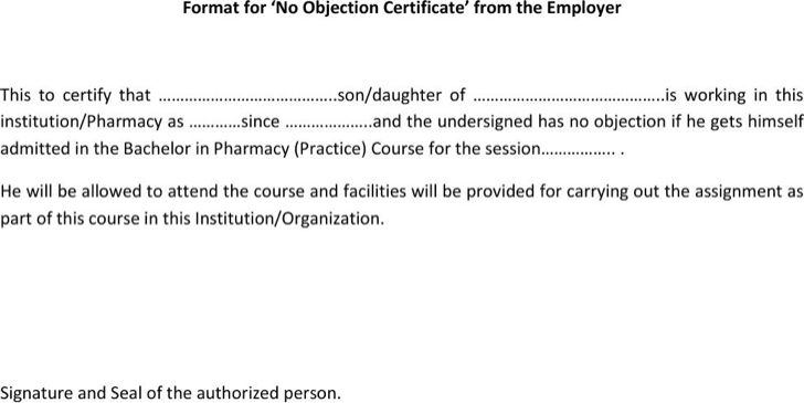 Doc.#600730: No Objection Certificate for Job – No Objection ...