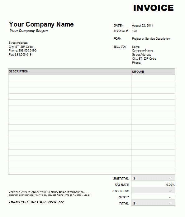 Service and Maintenance Invoice Template Free Blank Sample ...