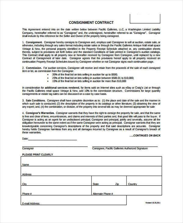 Consignment Form Template [Template.billybullock.us ]