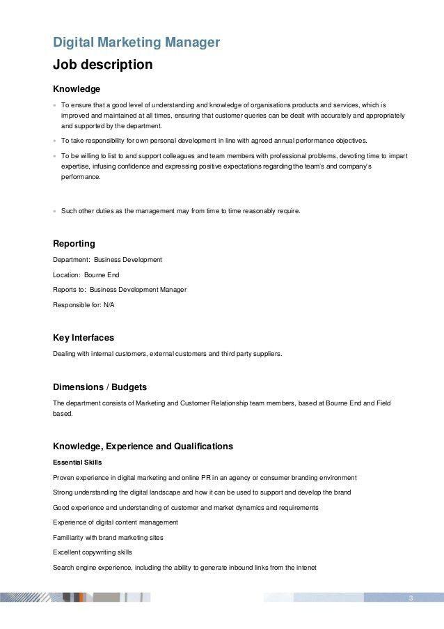 Outstanding Digital Marketing Manager Job Description Ornament - digital marketing job description