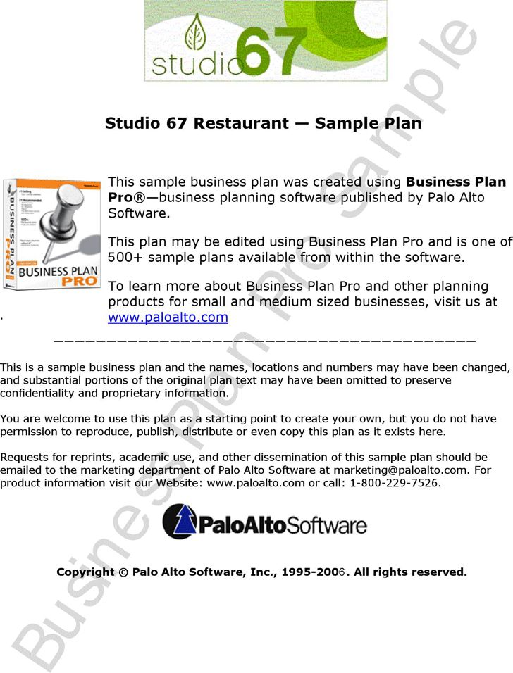 Business plan for information business
