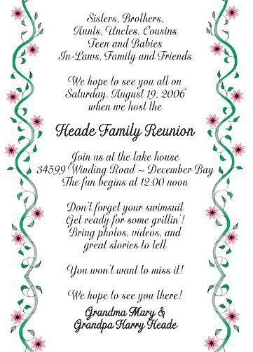 Family Reunion Invitations | Family Reunion Party Invitations ...