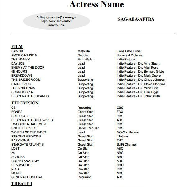 dance resume format. acting resume template for free. download ...