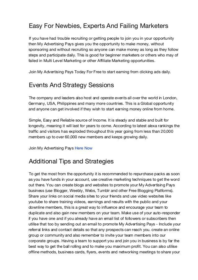 MAPS My Advertising Pays Strategy Guide