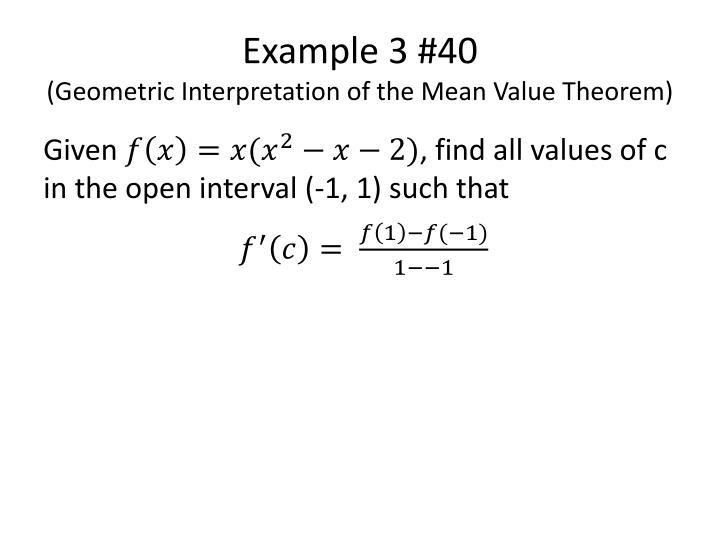 PPT - AP Calculus Section 3.2 Rolle's Theorem and Mean Value ...