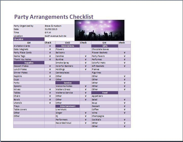 Party Arrangements Checklist Template for Excel | Word & Excel ...