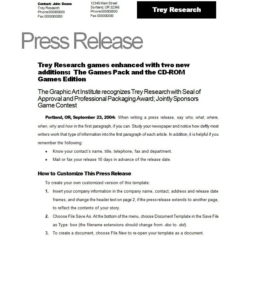 Press Release Template - vnzgames