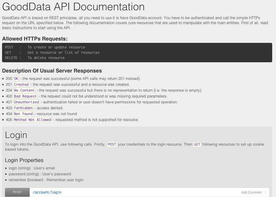 API Documentation Portal - Developer - GoodData Help Center