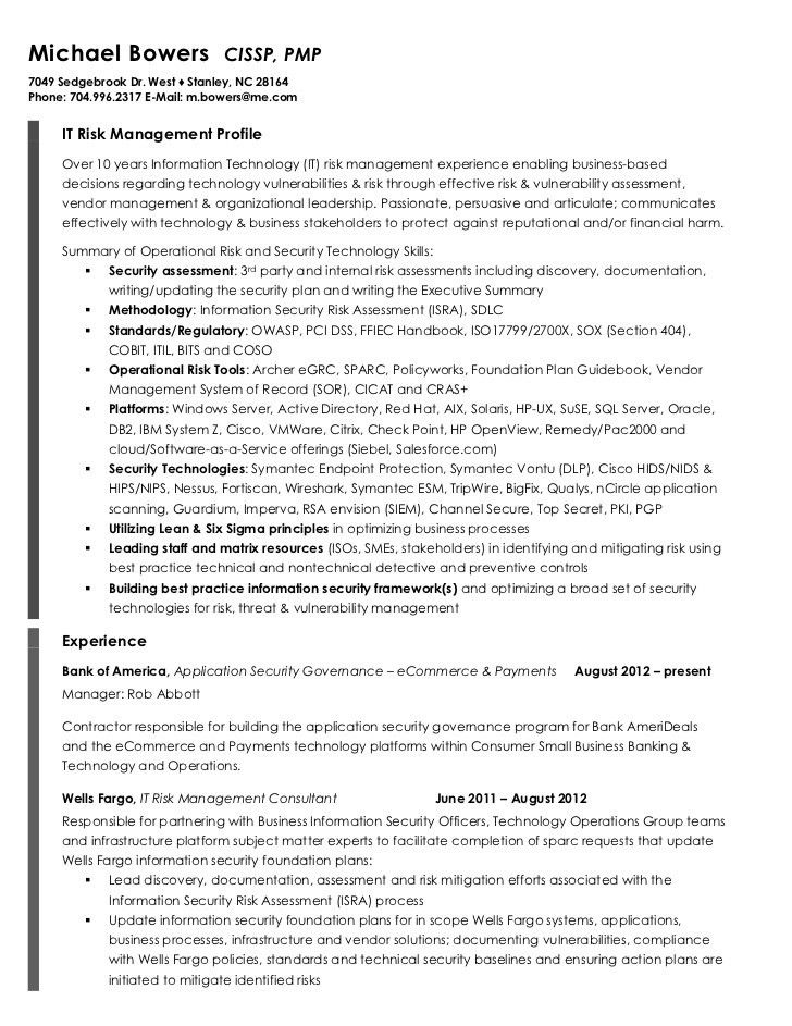 michael bowers resume. risk management resume example sample ...