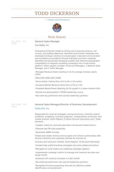 General Sales Manager Resume samples - VisualCV resume samples ...