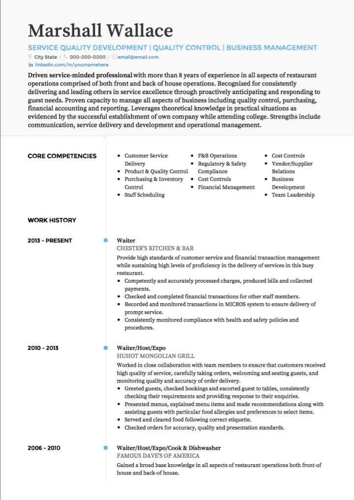 Waiter / Waitress CV Examples And Template