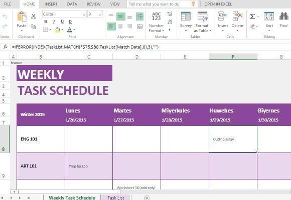 tasks template excel