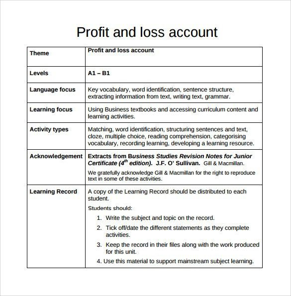 Free Profit And Loss Worksheet