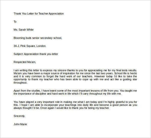Thank You Letters for Appreciation - 24+ Examples in PDF, Word