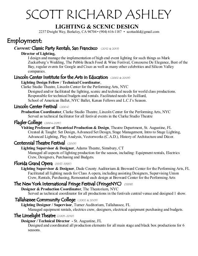 Scott Ashley Design Resume