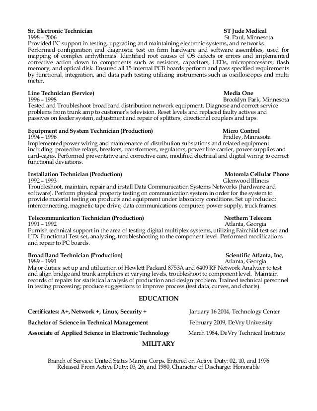 Sample Resume For Electronics Technician Zrom