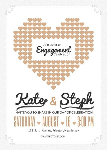 Heart Engagement Party Invitation Template Template | FotoJet