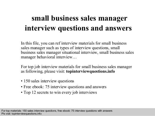 Small business sales manager interview questions and answers