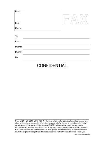 This printable fax cover sheet includes a statement of ...