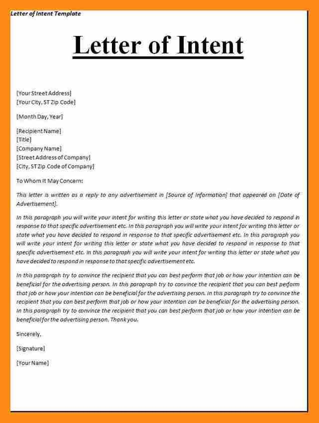 5+ template letter of intent | actor resumed