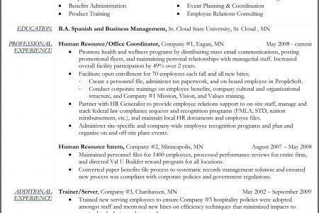 Sample Hr Generalist Resume | Enwurf.csat.co