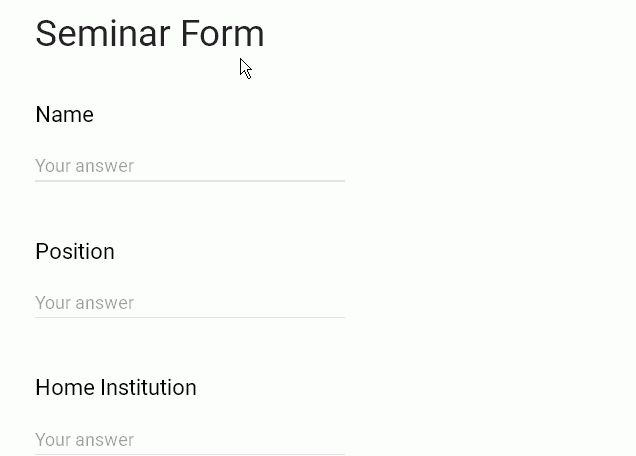 Google Form Template: Seminar attendee Form - w3resource
