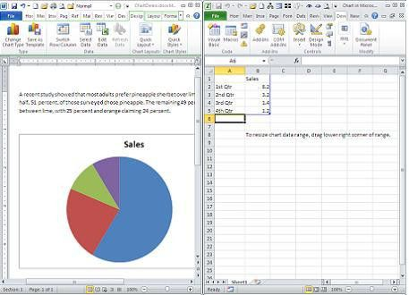 Add a pie chart to a Word document without opening Excel ...