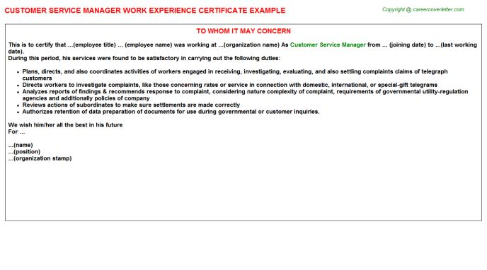 Customer Service Manager Work Experience Certificate