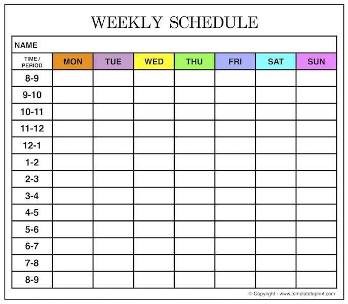 Weekly Planner Template for School, College, Office, Personal Planning