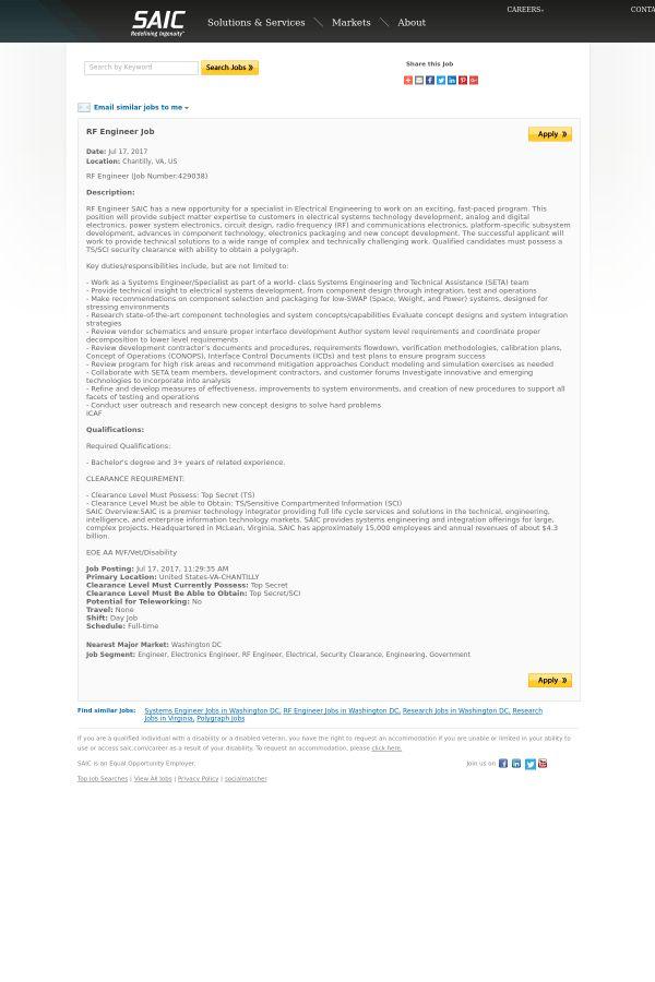 RF Engineer job at SAIC in Chantilly, VA | Tapwage Job Search