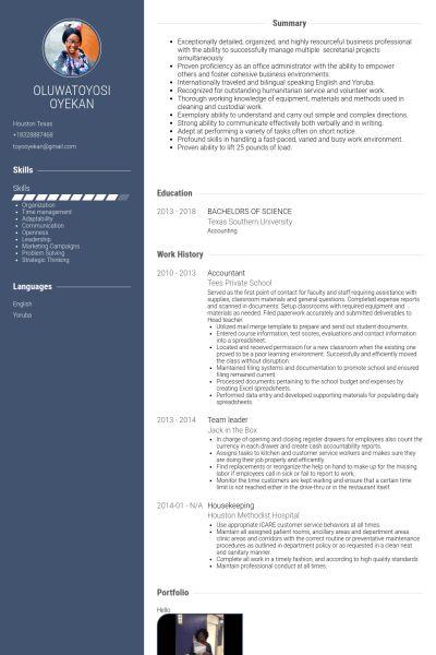 Housekeeping Resume samples - VisualCV resume samples database