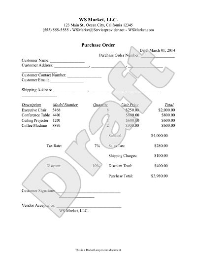Purchase Order Template - Create and Customize