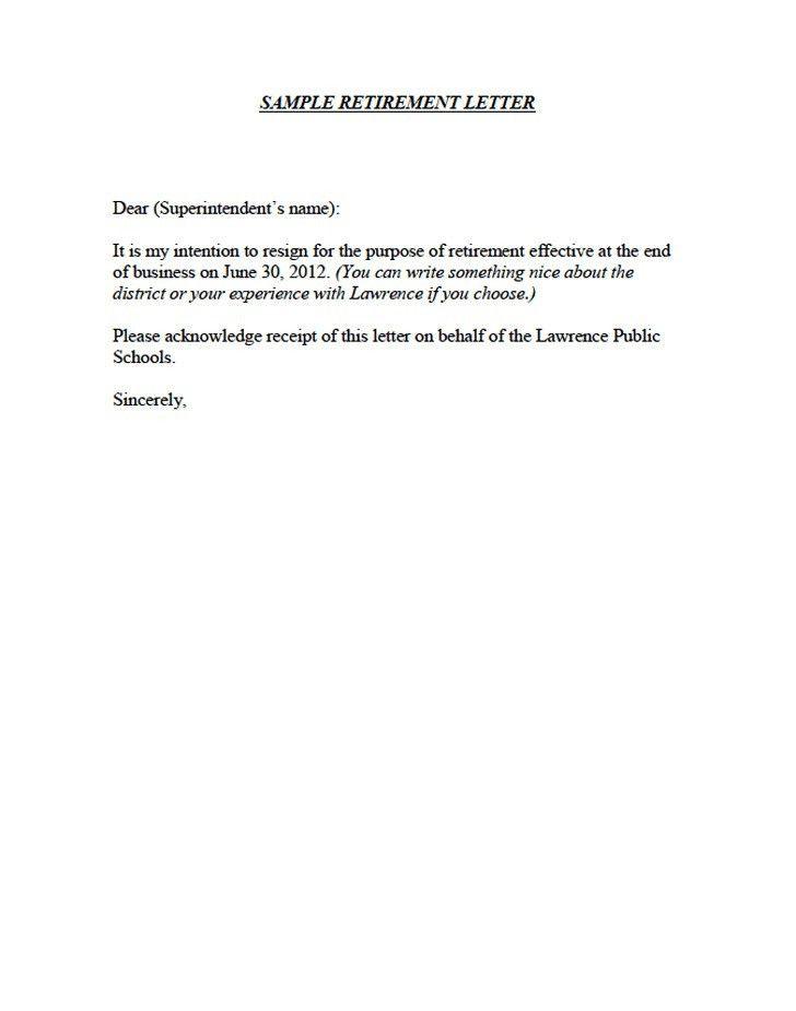 retirement letter sample retirement letter samples resignation ...