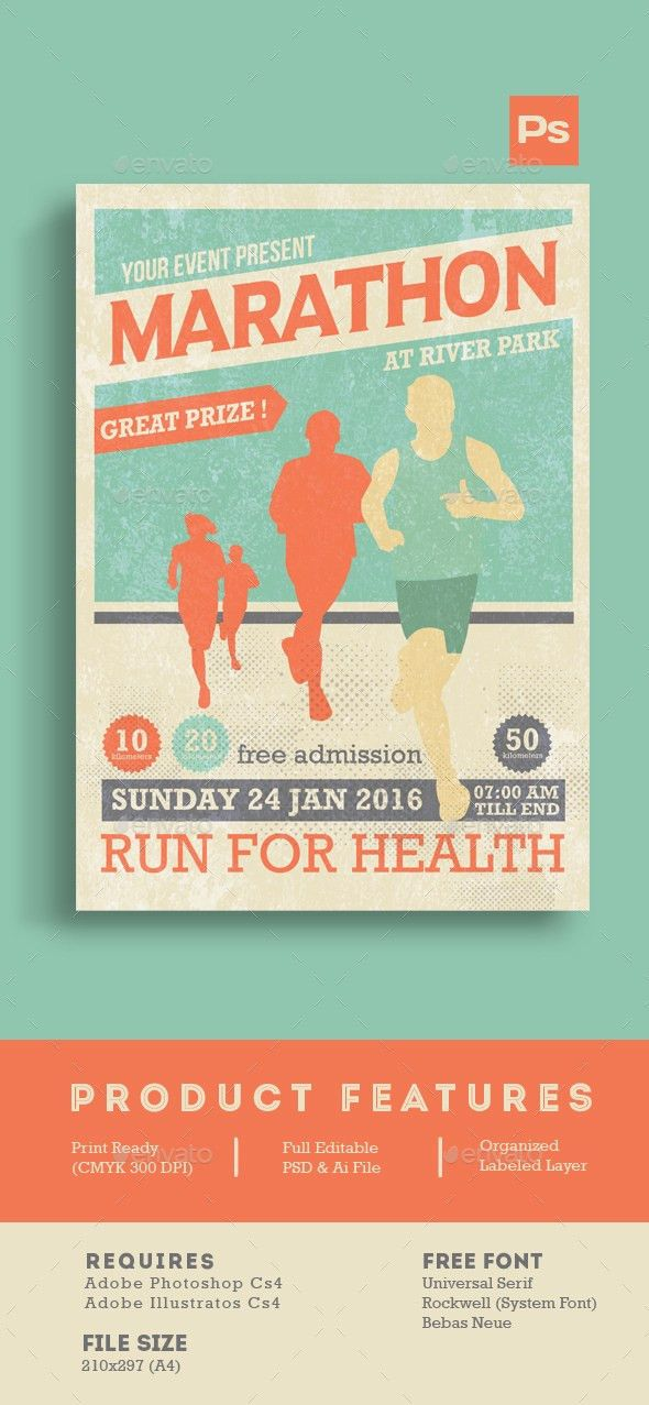 Marathon Event Flyer Template | Event flyer templates, Event ...