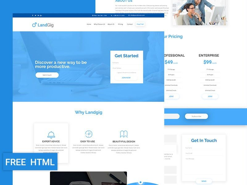 Free Landing Page Template | free psd | UI Download