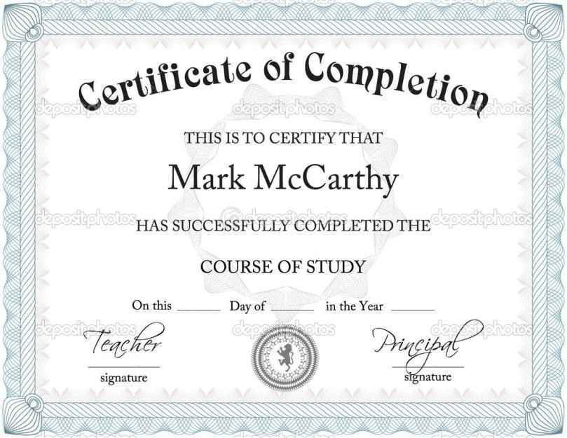Certificate of completion word template completion certificate free certificate of completion templates for word template yadclub Images