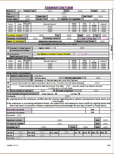 MS Word Employee Termination Form Template | Word Document Templates
