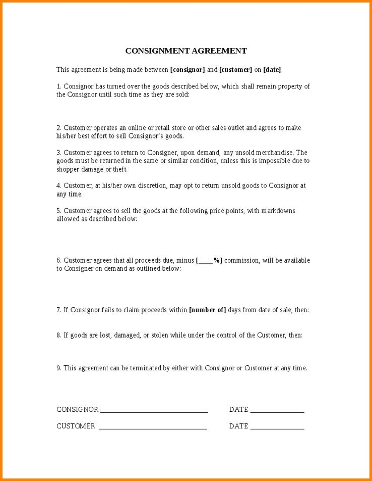 Sample Of Consignment Agreement - Resume Templates