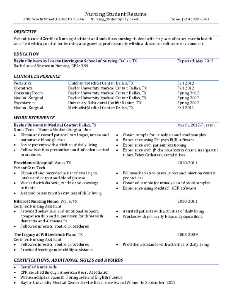 CNA Resume Samples - Download Free Templates in PDF and Word