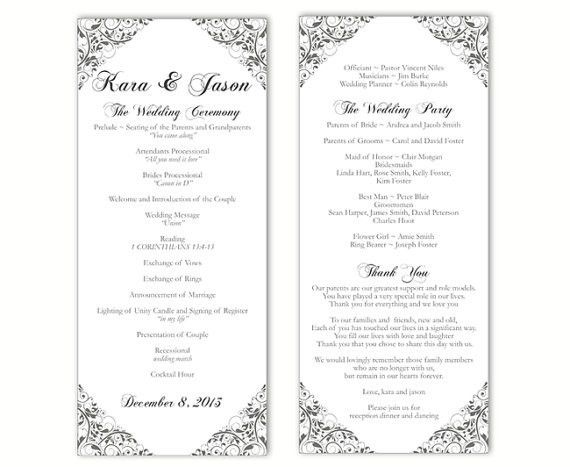 Wedding Program Template. Diy Modern Typography Wedding Program ...