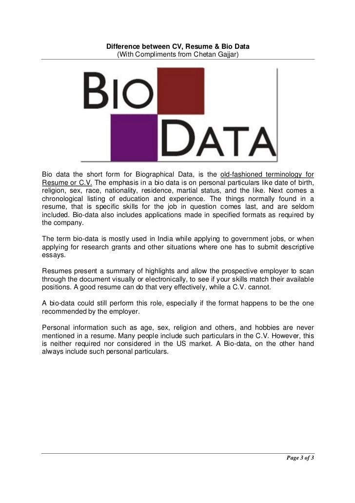 resume and biodata difference