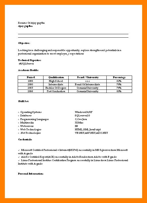 7+ simple resume format for freshers pdf | janitor resume