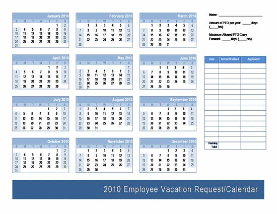 Employee Vacation Request / Calendar Template | Calendars | Ready ...