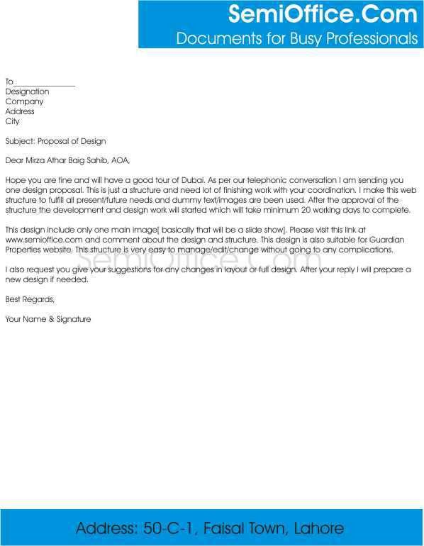 Cover Letter for Sending Business Proposal to Comapany