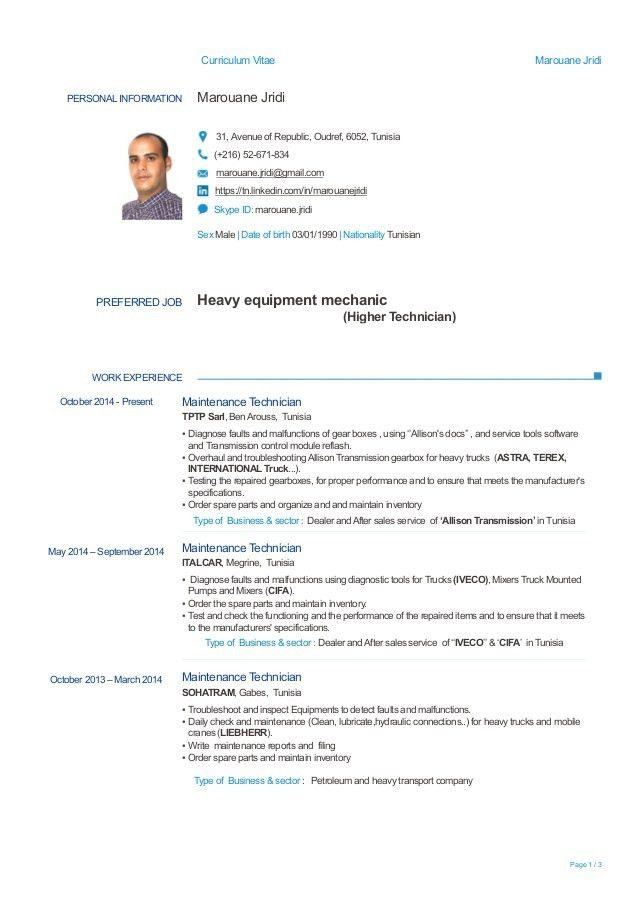 Heavy equipment mechanic Resume