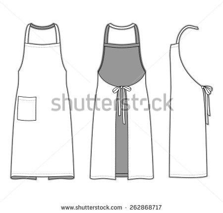 Front Back Side Views Apron Blank Stock Vector 262868717 ...
