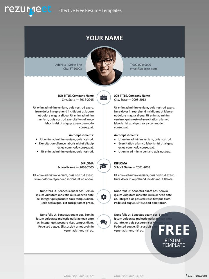Free resume template with top banner | Classic resume templates ...