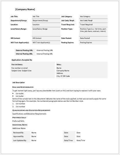 Comprehensive Job Description Template | Word & Excel Templates