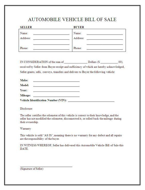 Printable Sample bill of sale templates Form | Legal Forms Online ...