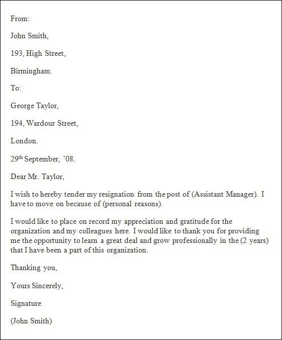 Resume Examples Templates: Resignation Letter Template Formal ...
